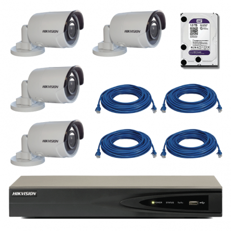 Kit complet supraveghere video Hikvision cu 4 camere video IP interior/exterior