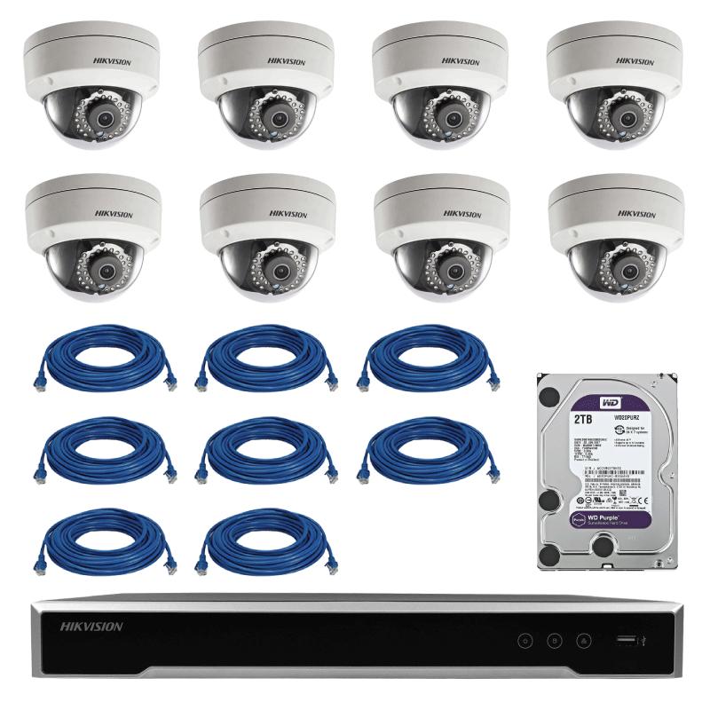 Kit COMPLET de supraveghere Hikvision IP cu 8 camere de interior tip dome de 1.3 MP cu HDD 2TB si cablu UTP