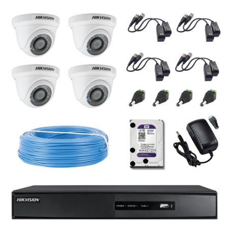 Kit COMPLET supraveghere Hikvision Turbo HD cu 4 camere tip dome pt interior 1MP cu HDD 1 TB, cablu si conectori