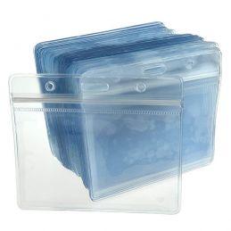 Suport ecuson (portecuson) din PVC, transparent, impermeabil, prindere orizontala SE-001H_bulk - pachet 100 buc