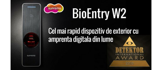 Suprema BioEntry W2 premiat in cadrul Detektor International Award 2016